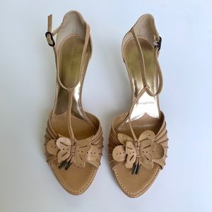 GIORGIO ARMANI Tan Leather Wedges w/ Butterfly